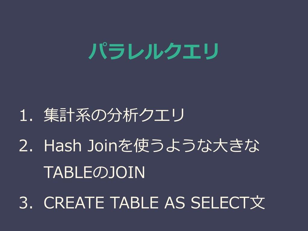 パラレルクエリ 1. 集計系の分析クエリ 2. Hash Joinを使うような大きな TABL...