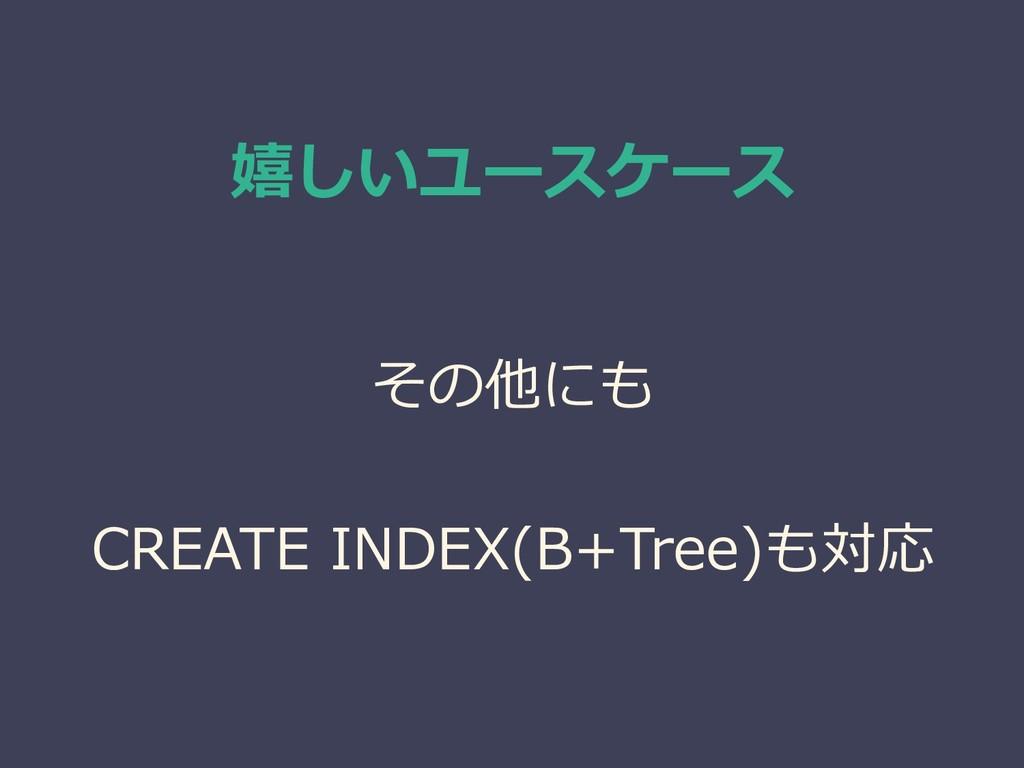 嬉しいユースケース その他にも CREATE INDEX(B+Tree)も対応