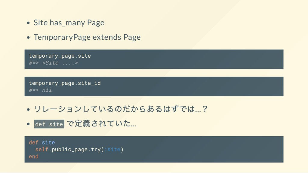 Site has_many Page TemporaryPage extends Page t...