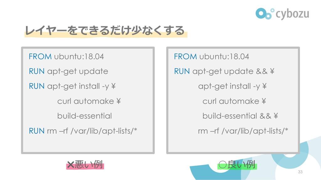 レイヤーをできるだけ少なくする FROM ubuntu:18.04 RUN apt-get u...