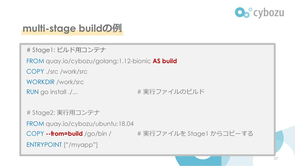 multi-stage buildの例 37 # Stage1: ビルド⽤コンテナ FROM ...