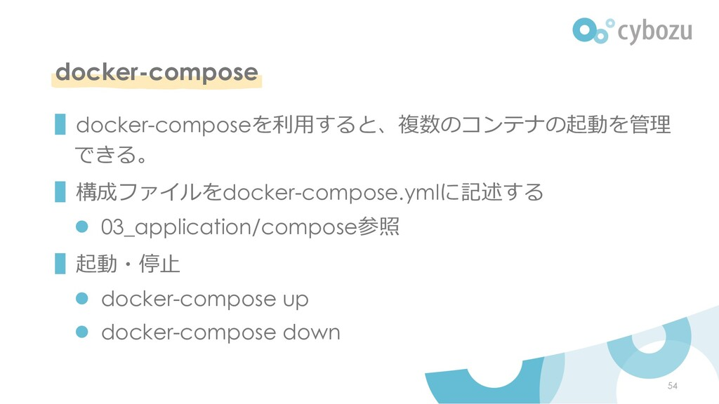 docker-compose ▌docker-composeを利⽤すると、複数のコンテナの起動...