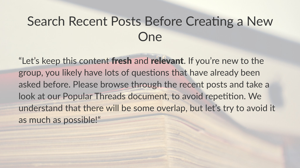 """Search'Recent'Posts'Before'Crea1ng'a'New' One """"..."""