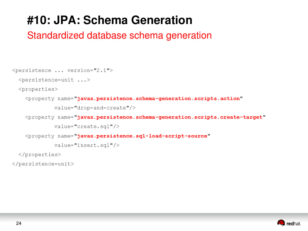 24 #10: JPA: Schema Generation Standardized dat...
