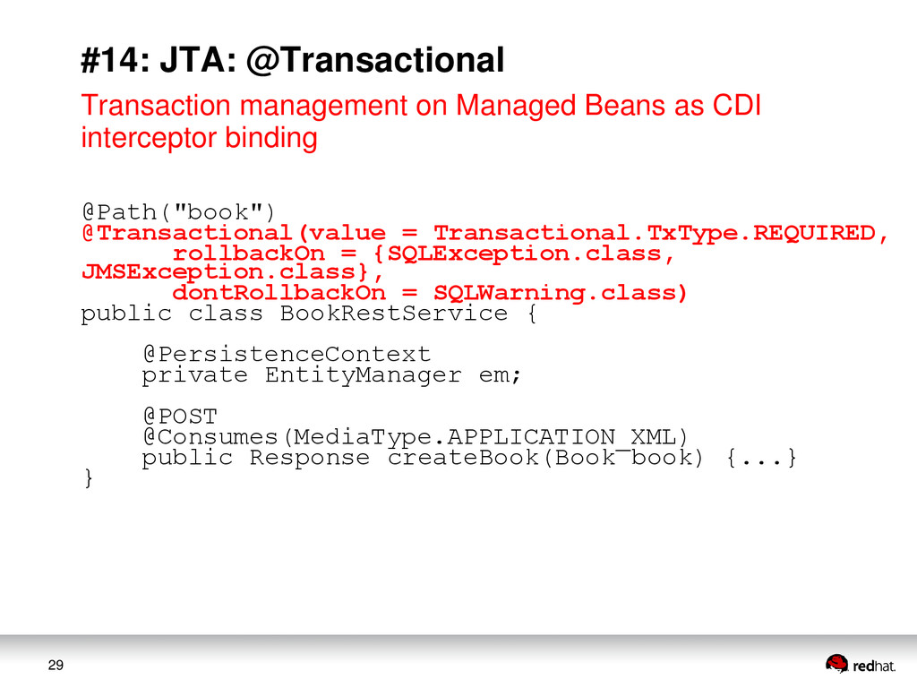 29 #14: JTA: @Transactional Transaction managem...