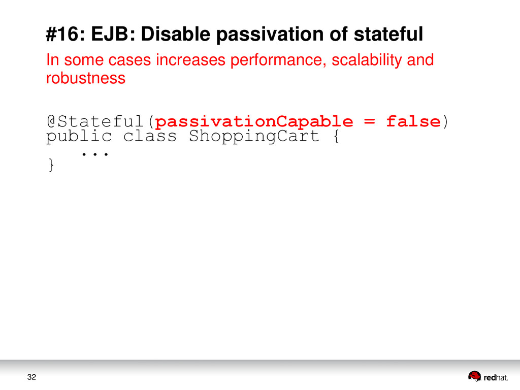 32 #16: EJB: Disable passivation of stateful In...