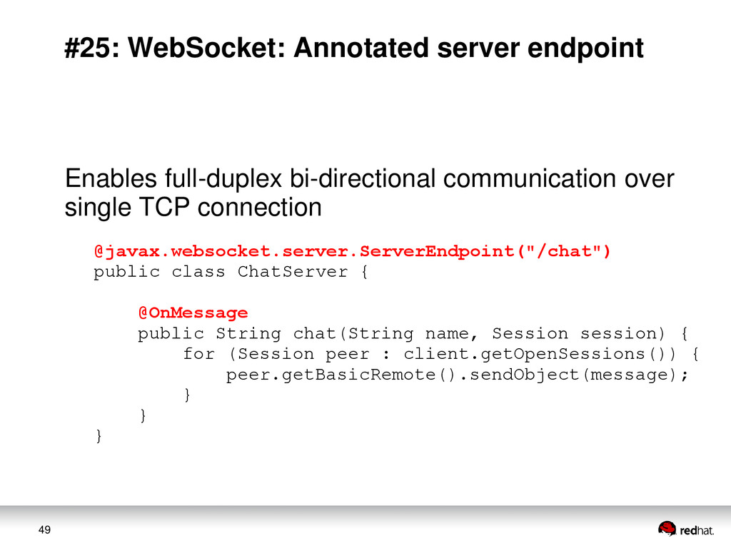 49 #25: WebSocket: Annotated server endpoint En...