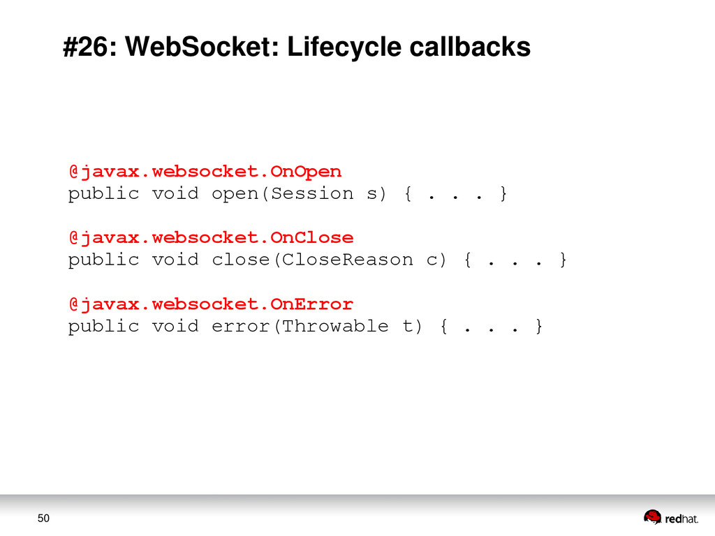 50 #26: WebSocket: Lifecycle callbacks @javax.w...