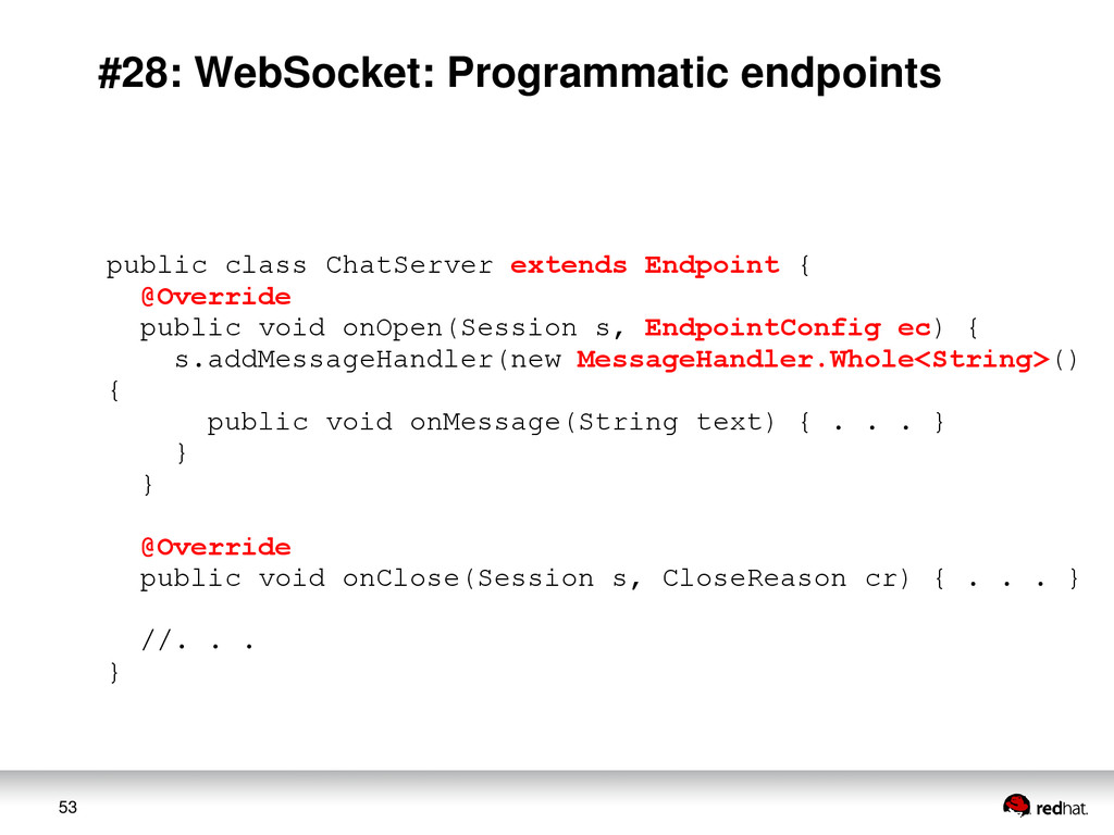 53 #28: WebSocket: Programmatic endpoints publi...