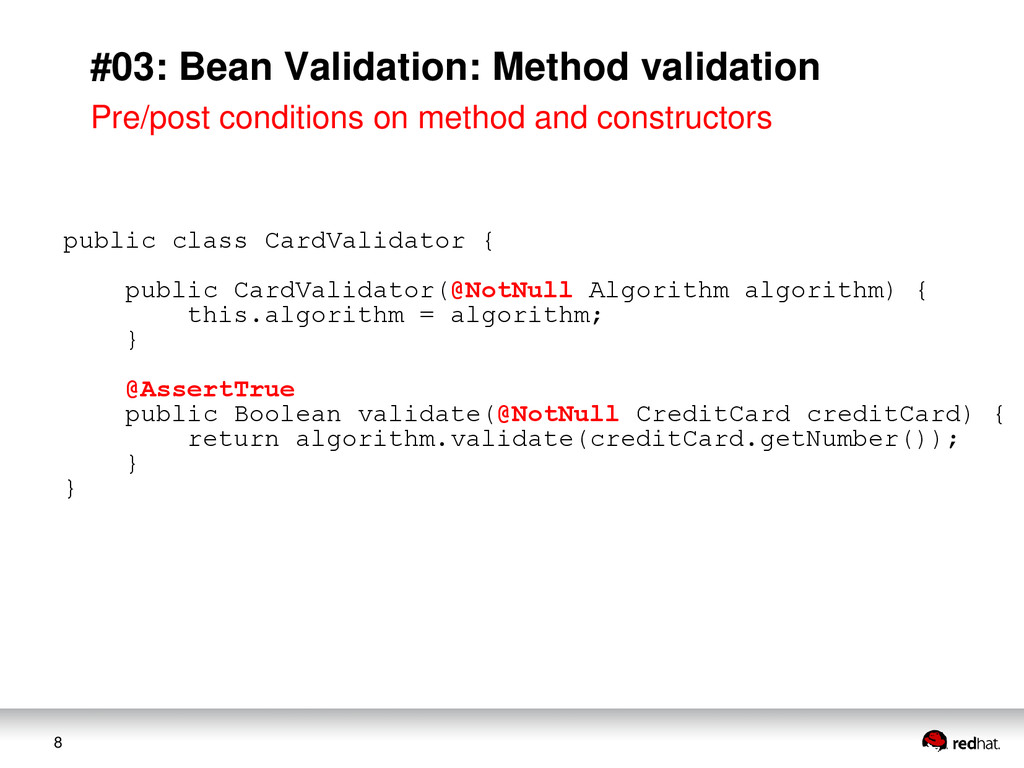 8 #03: Bean Validation: Method validation Pre/p...