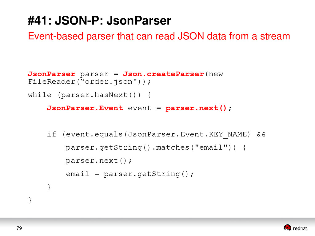 79 #41: JSON-P: JsonParser Event-based parser t...