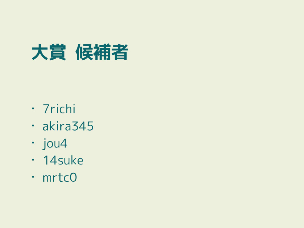 大賞 候補者 • 7richi • akira345 • jou4 • 14suke • mr...