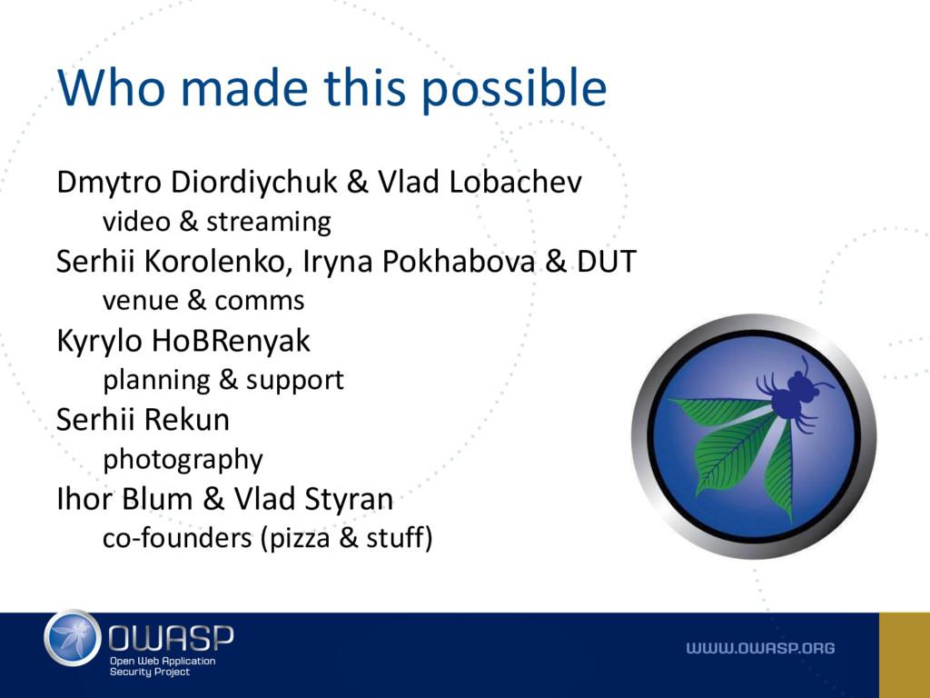 Who made this possible Dmytro Diordiychuk & Vla...
