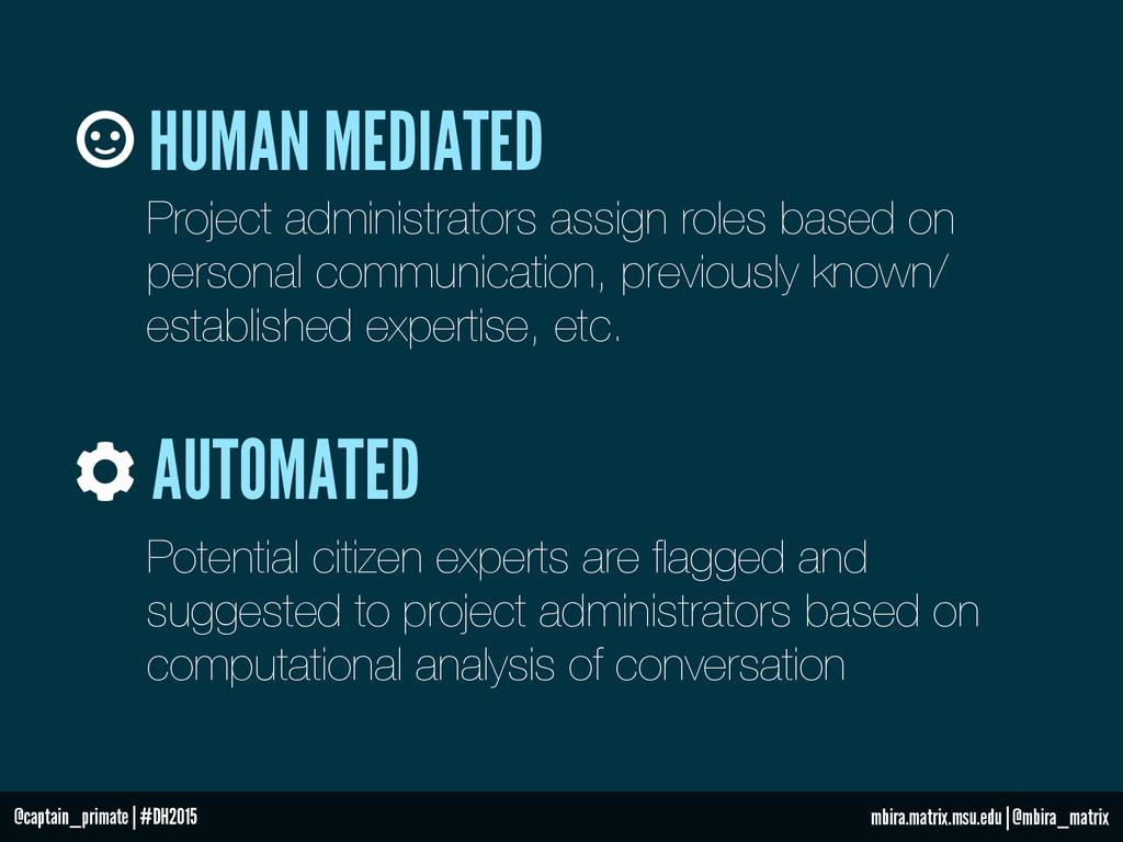 HUMAN MEDIATED AUTOMATED Project administrators...