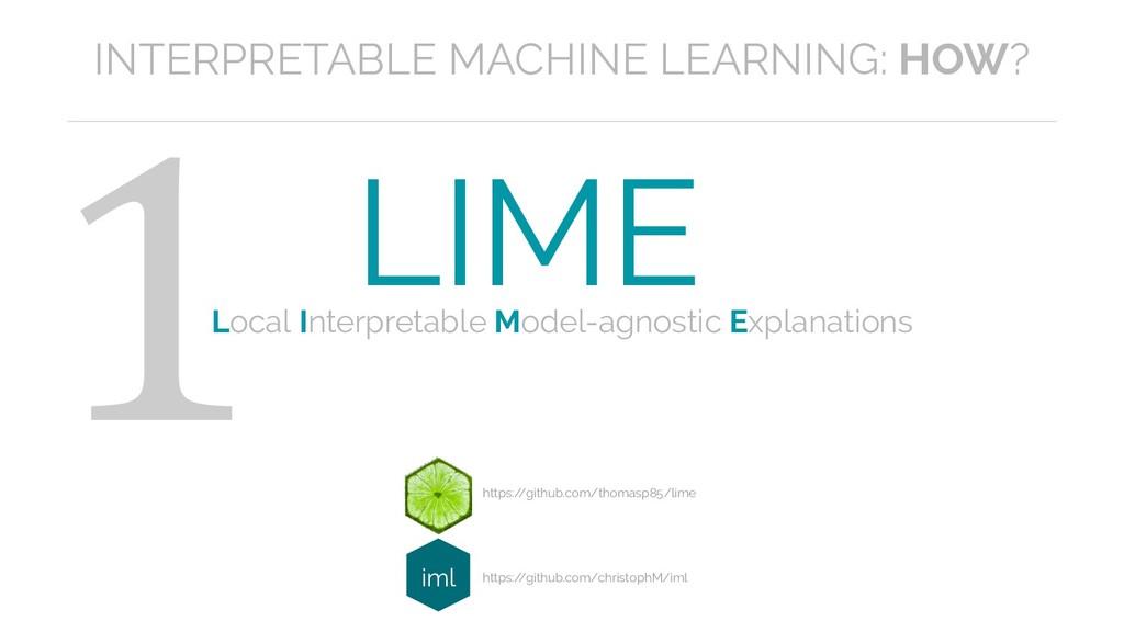 1 LIME https:/ /github.com/thomasp85/lime Local...