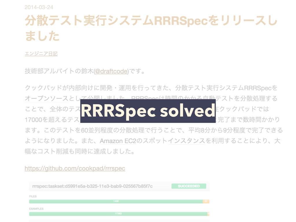 RRRSpec solved