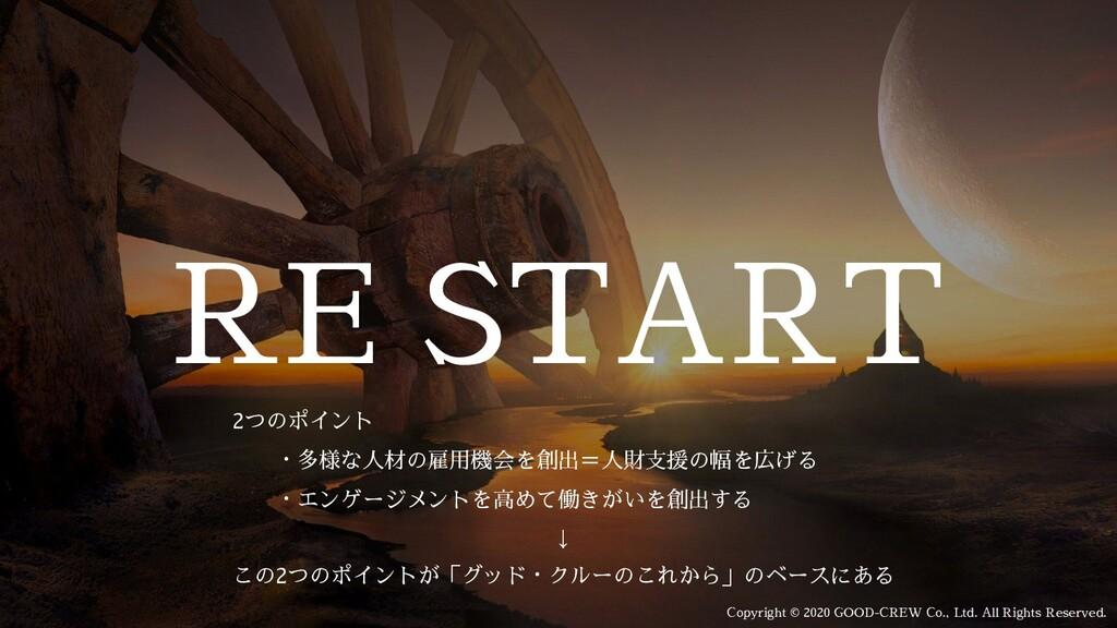 RE START     2つのポイント       ・多様な人材の雇用機会を創出=人財支援の...