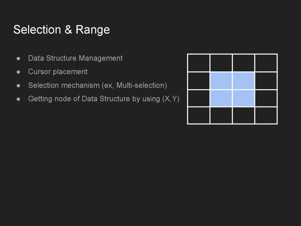 Selection & Range ● Data Structure Management ●...
