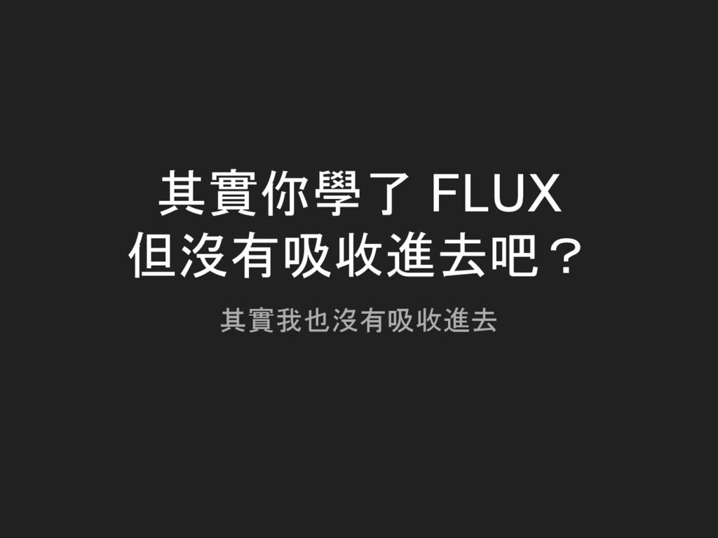 其實你學了 FLUX 但沒有吸收進去吧? 其實我也沒有吸收進去