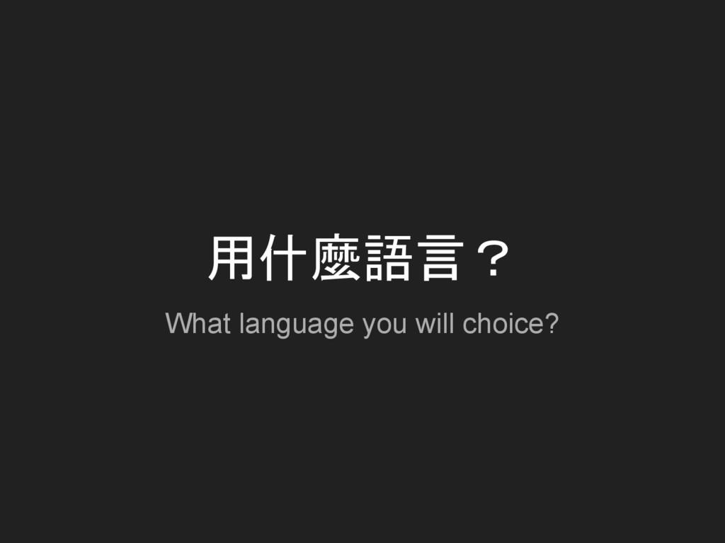 用什麼語言? What language you will choice?
