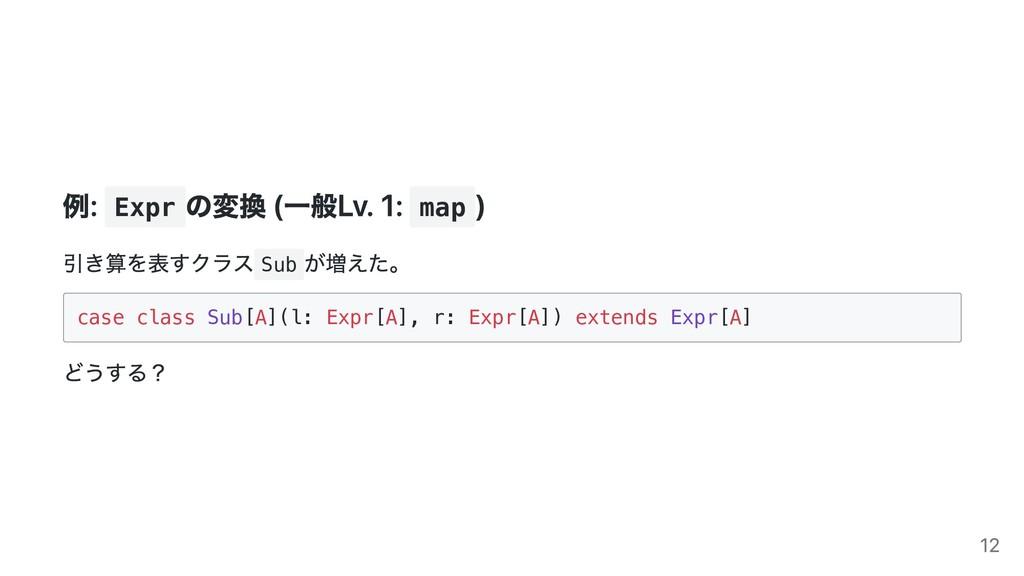 例: Expr の変換 (⼀般Lv. 1: map ) 引き算を表すクラス Sub が増えた。...