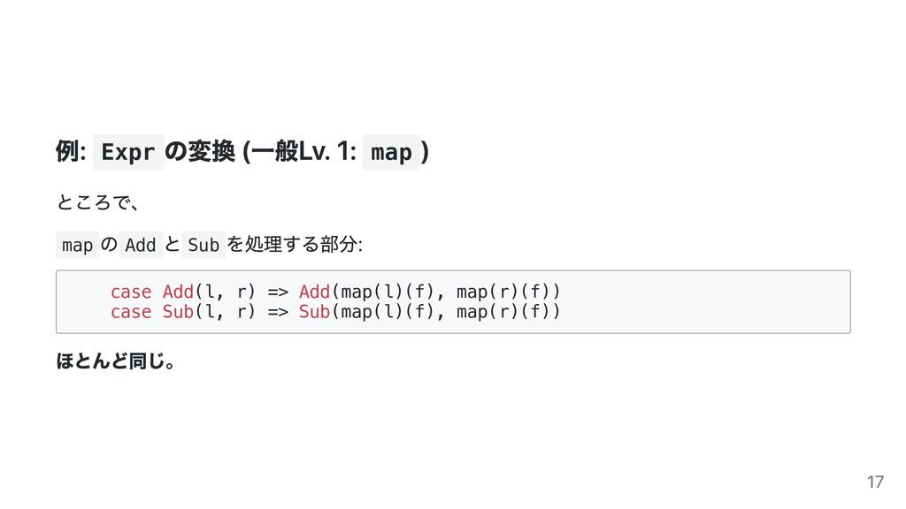 例: Expr の変換 (⼀般Lv. 1: map ) ところで、 map の Add と S...