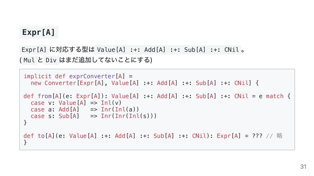 Expr[A] Expr[A] に対応する型は Value[A] :+: Add[A] :+:...