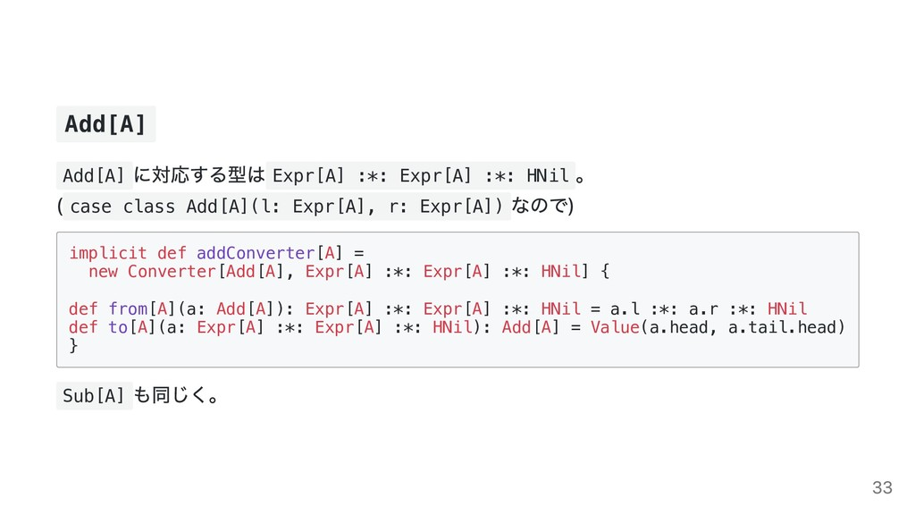 Add[A] Add[A] に対応する型は Expr[A] :*: Expr[A] :*: H...