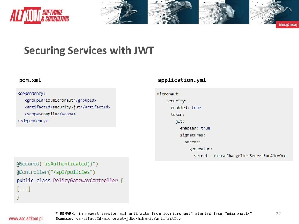 22 Securing Services with JWT pom.xml applicati...