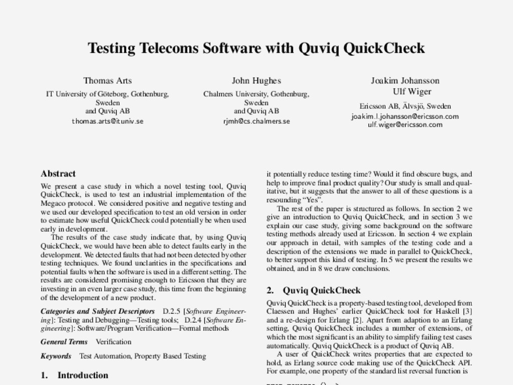 Testing Telecoms Software with Quviq QuickCheck...