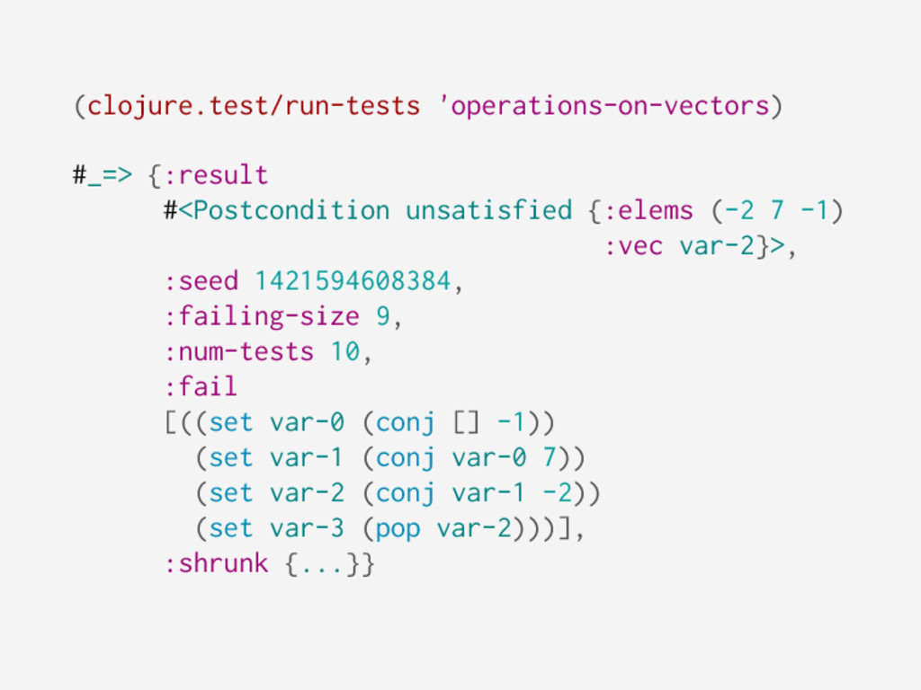 (clojure.test/run-tests 'operations-on-vectors)...