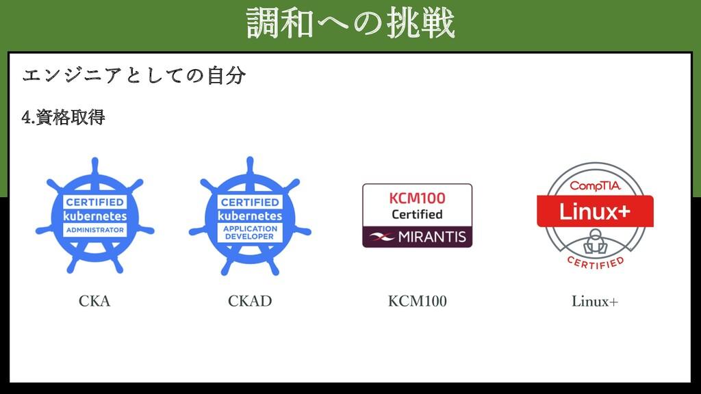 調和への挑戦 エンジニアとしての⾃分 4.資格取得 CKA KCM100 CKAD Linux+
