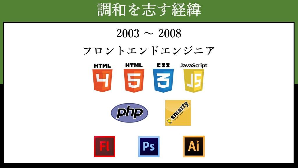 調和を志す経緯 2003 〜 2008 フロントエンドエンジニア