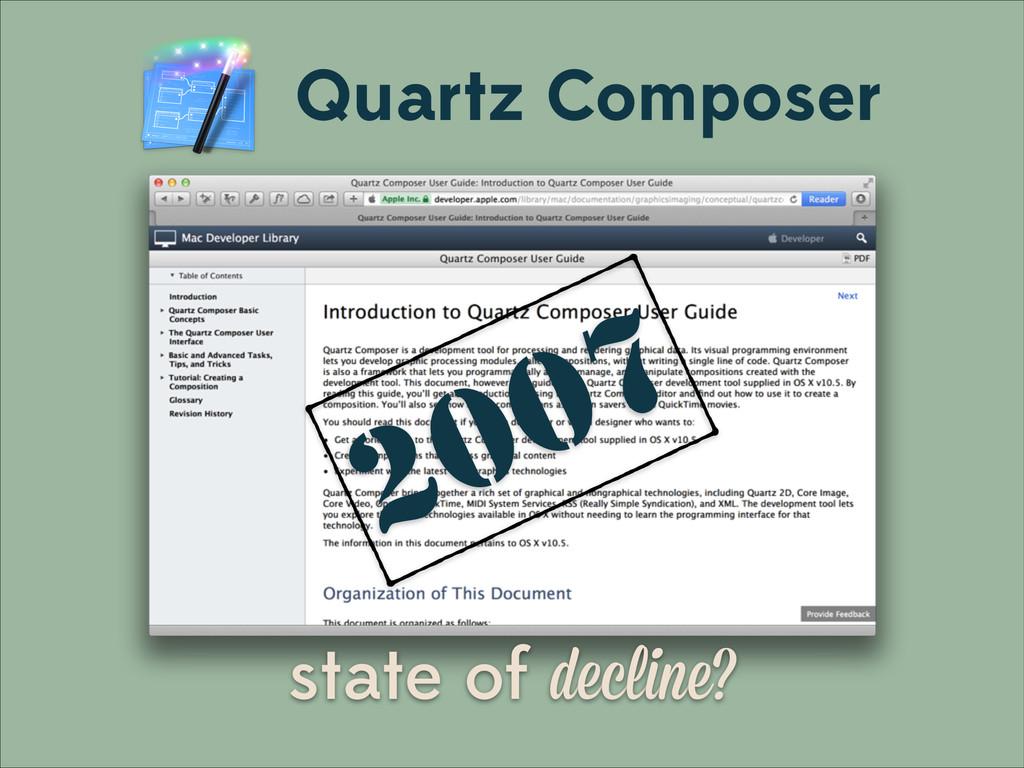 Quartz Composer state of decline? 2007