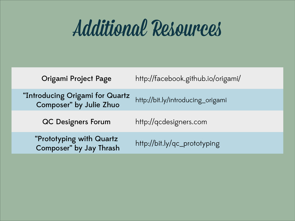 Additional Resources Origami Project Page http:...