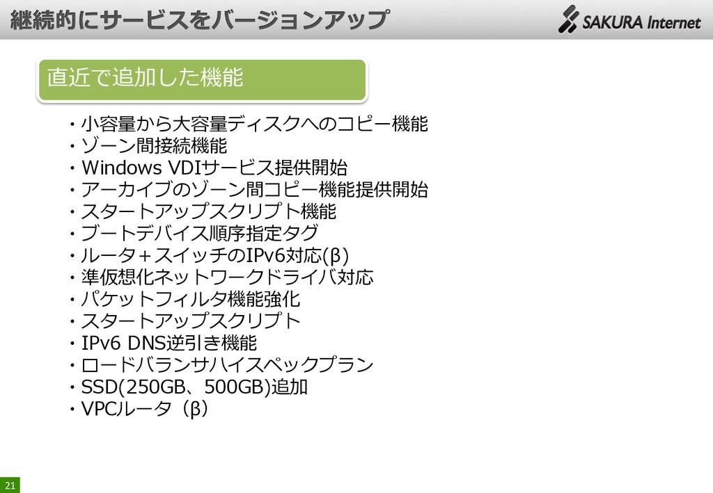 21 ・小容量から大容量ディスクへのコピー機能 ・ゾーン間接続機能 ・Windows VDIサ...