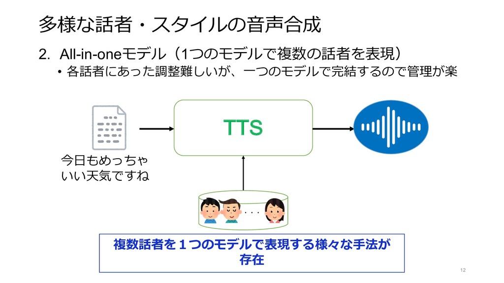 多様な話者・スタイルの⾳声合成 2. All-in-oneモデル(1つのモデルで複数の話者を表...