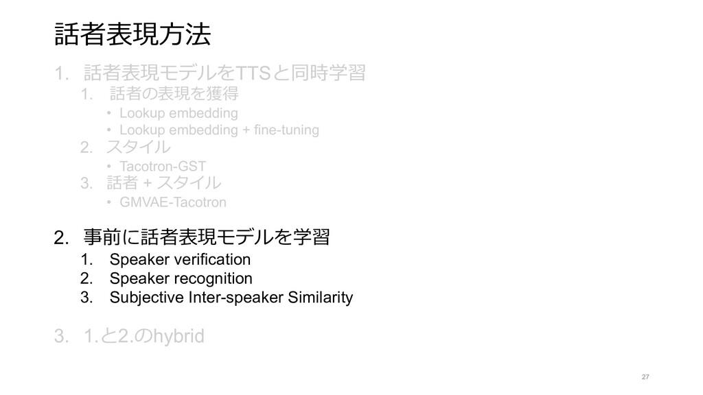 話者表現⽅法 1. 話者表現モデルをTTSと同時学習 1. 話者の表現を獲得 • Lookup...