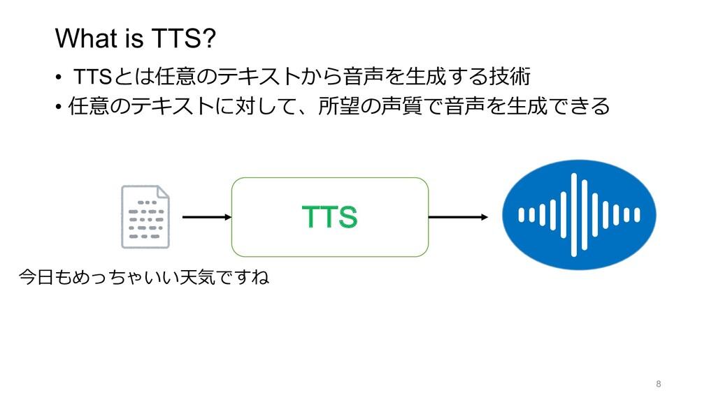 What is TTS? • TTSとは任意のテキストから⾳声を⽣成する技術 • 任意のテキス...
