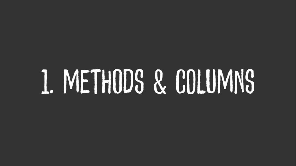 1. methods & columns