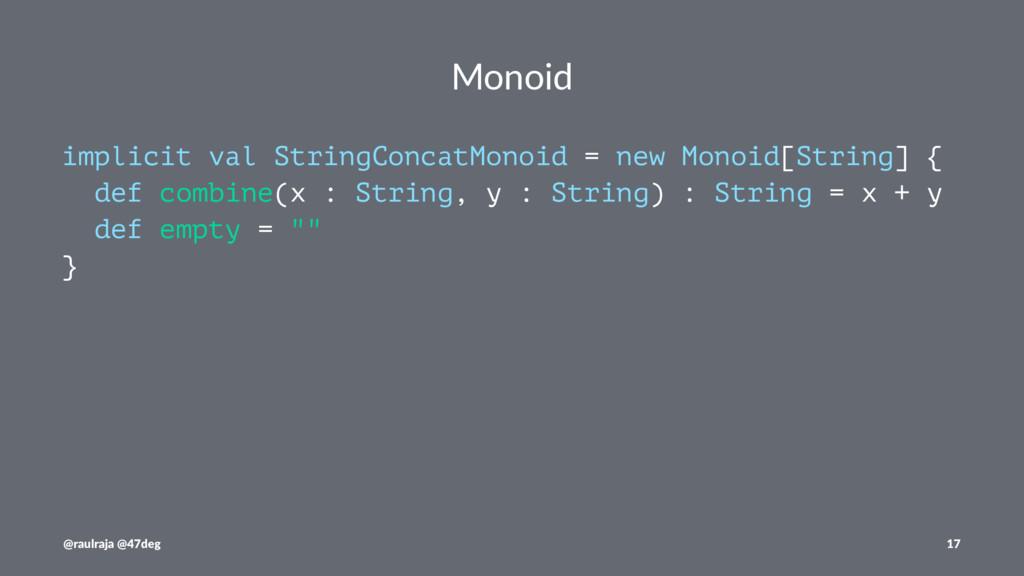 Monoid implicit val StringConcatMonoid = new Mo...