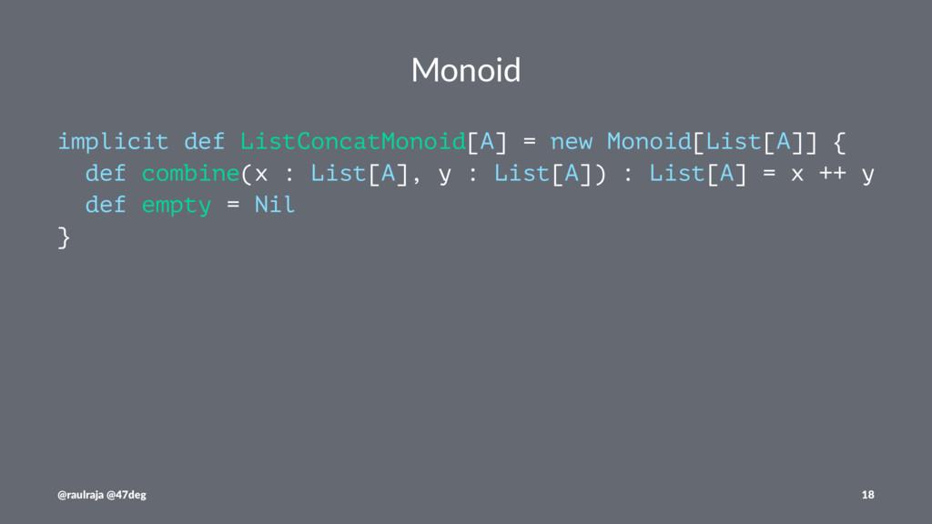 Monoid implicit def ListConcatMonoid[A] = new M...