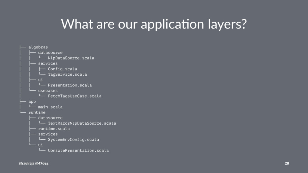 What are our applica.on layers? ├── algebras │ ...