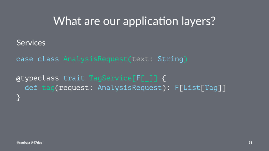 What are our applica.on layers? Services case c...