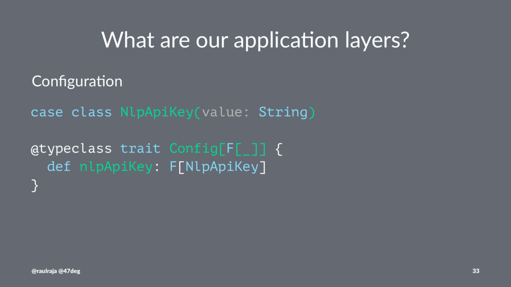 What are our applica.on layers? Configura)on cas...