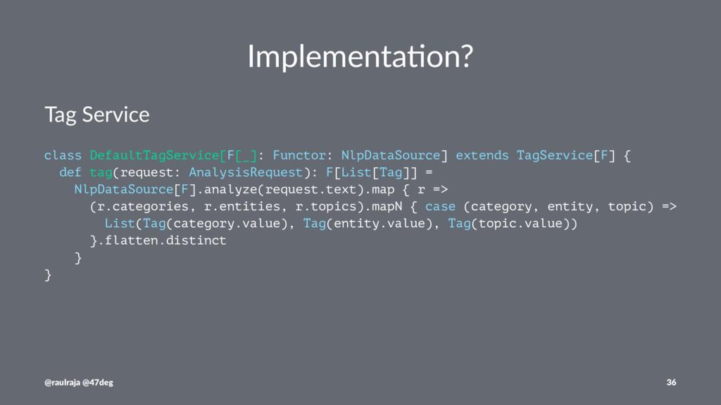 Implementa)on? Tag Service class DefaultTagServ...