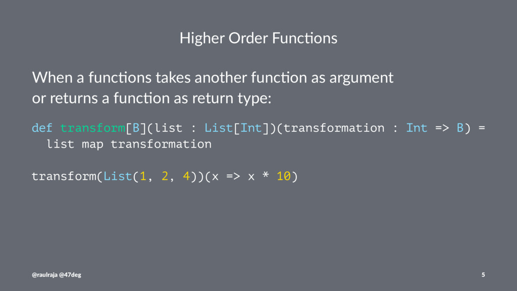 Higher Order Func.ons When a func*ons takes ano...