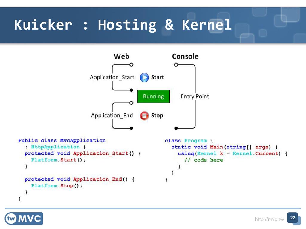 http://mvc.tw Kuicker : Hosting & Kernel 22