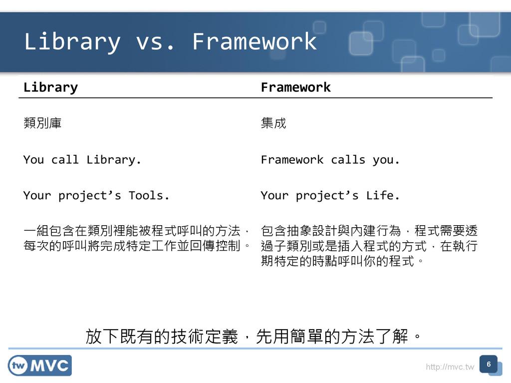 http://mvc.tw Library Framework 類別庫 集成 You call...