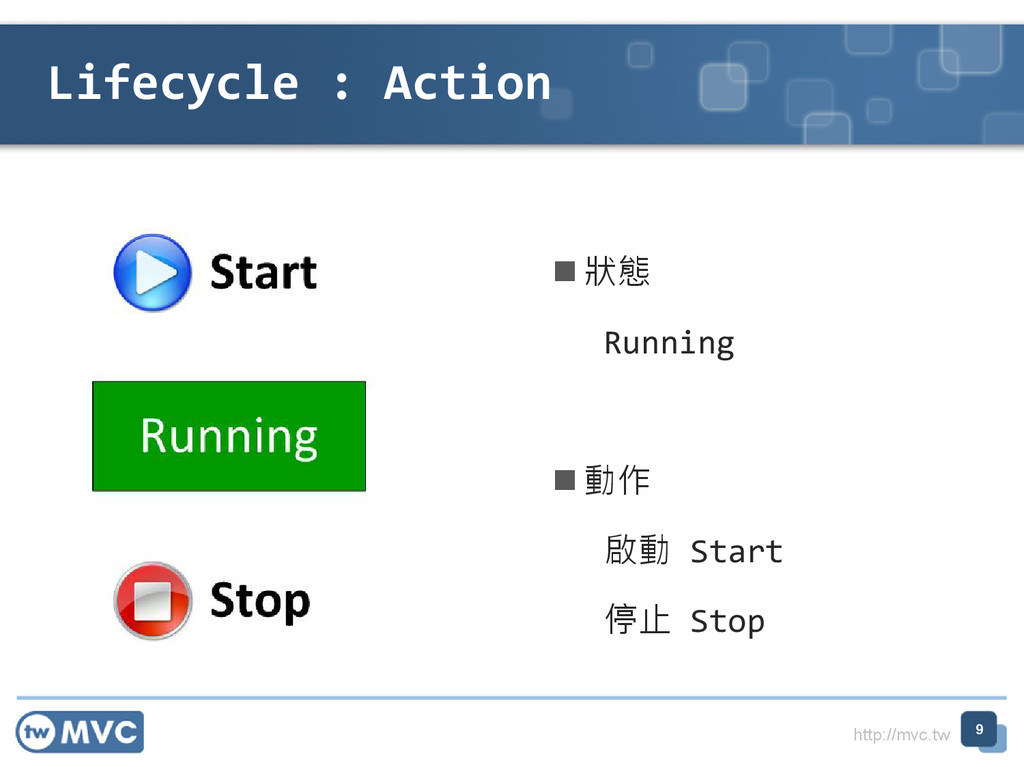http://mvc.tw Lifecycle : Action 9  狀態 Running...